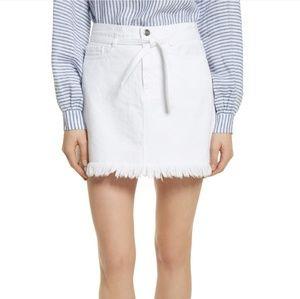Frame Le High Fray Hem Denim Skirt In Blanc 28